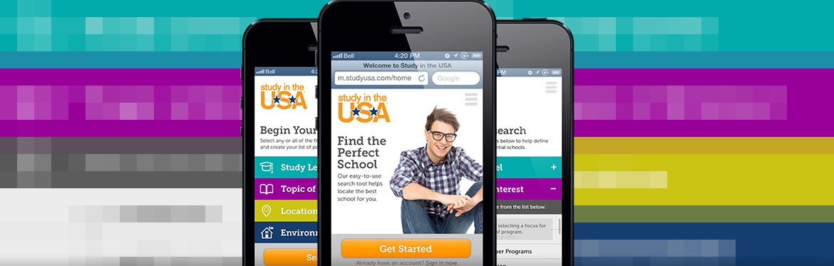 Study in the USA Mobile Site Home Page